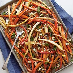 Balsamic-Roasted Carrots and Parsnips | MyRecipes.com  1 (4-oz.) package feta cheese, crumbled  1/2 cup chopped dried sweet cherries  1/4 cup chopped fresh flat-leaf parsley  1 teaspoon lemon zest  1/2 teaspoon dried crushed red pepper  4 tablespoons olive oil, divided  1 1/2 pounds carrots  1 1/2 pounds parsnips  2 tablespoons light brown sugar  3 tablespoons balsamic vinegar