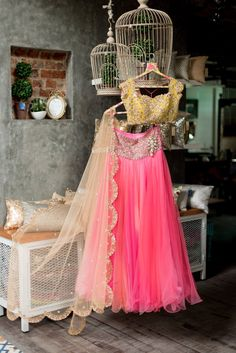 Anushree Reddy Bright Pink #Lehenga With Yellow Embroidered #Blouse And Transparent Cream Dupatta.