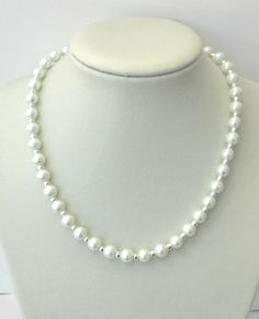 White glass pearl bead necklace. Handcrafted in UK. Gift or treat.