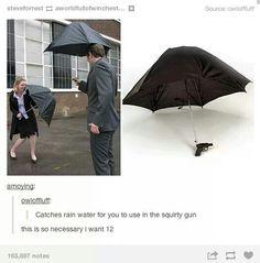 Squirt gun umbrella, tumblr funny