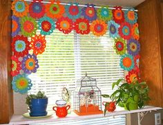 Robin Sanchez's crocheted floral window treatment