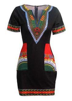 Pocket Design Split Neck Black Dashiki Dress with cheap wholesale price, buy… African Wear, African Fashion, African Women, Sexy Summer Dresses, Casual Dresses, Summer Wear, Casual Wear, Dashiki Dress, Kitenge