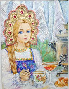 Russian beauty in traditional kokoshnik headdress, illustration  by Albina Zolotovskaya