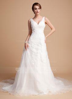 A-Line/Princess V-neck Chapel Train Satin Organza Wedding Dress With Ruffle Beading Appliques Lace (002000378) - JJsHouse