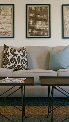 Framed textiles add texture and pattern and are great in a grouping. Line a hallway, Stack them to emphasize a high ceiling, or lean them en masse on the floor for a more casual vibe.