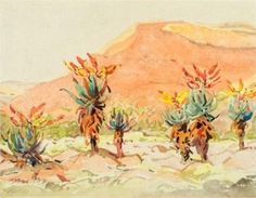 Aloes near a River - Walter Battiss (a relative of mine) Walter Battiss, Art Database, Van Gogh, Beautiful Images, River, Watercolor, Landscape, Drawings, Photography