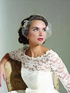 short wedding hairstyles with birdcage veil