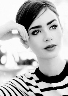 black & white & stripes lily collins