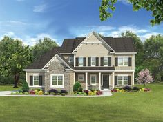 Traditional House Plan with 2640 Square Feet and 4 Bedrooms from Dream Home Source   House Plan Code DHSW077075