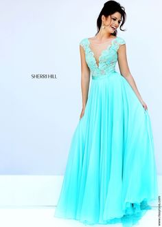 Sherri Hill 11269 Aqua Blue Open Back Chiffon Prom Gown