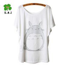 Totoro impression femmes T Shirts Cartoon mode imprimé Animal chauve - souris manches T - shirt Tops T-Shirt , Plus la taille(China (Mainland))