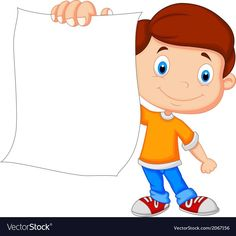 Cartoon boy holding blank paper vector image on VectorStock Kids Background, Flower Background Wallpaper, Cute Wallpaper Backgrounds, Cartoon Fish, Cartoon Boy, 4th Grade Reading Worksheets, Physical Activities For Kids, School Border, Down Syndrom