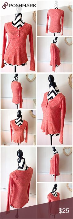 Pure + Good Comfy Long Sleeve Orange Henley Tee Pure + Good Comfy Long Sleeve Orange Henley Tee. Size XS. Used, Good Condition. No stains, No holes, No rips. Bust is 38 inches. Length is 23 inches. Tee is 56% cotton 44% polyester. Feel free to ask questions. Offers always welcome.🚫NO TRADES🚫 Anthropologie Tops Tees - Long Sleeve