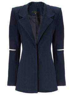 Navy Wool Spliced Sleeve Jacket | Nonoo | Avenue32