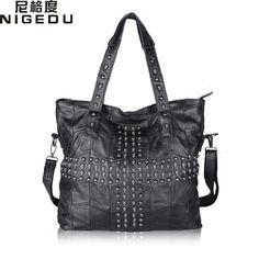 ba636e1e8e 37.80  Watch here - Skull Rivet Genuine Leather Women Handbag Patchwork  Sheepskin Shoulder Bag Brand