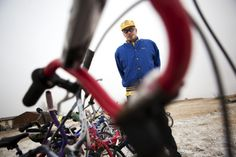 Dale Bishop of the Yellow Bike Program and Reconditioned Bikes for Kids, stands next to the bikes that he was ready to donate to Toys for Tots before they refused him because they weren't new. Read the full story! #bikes #ToysforTots #nonprofit #usedtoys
