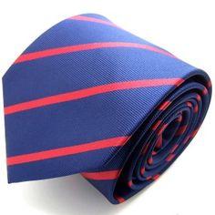 label-cravate - Cravate bleu-nuit et rouge