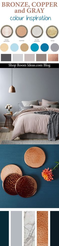 Bronze, Copper, Gray and Navy Blue Colour Palette - Inspiration for bedrooms, living rooms, hallways, and bathrooms.