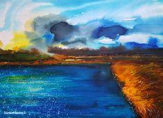 """Sunset Seascape 3""----- Art by Gabriela Calinoiu------Pictura in acuarelă www.galeriagabriela.wordpress.com Wordpress, Watercolor, Sunset, Painting, Pen And Wash, Sunsets, Watercolor Painting, Watercolour, Painting Art"