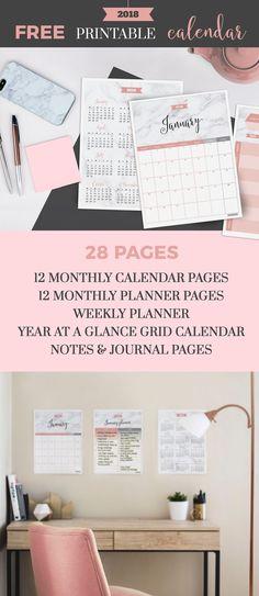 2018 Free Printable Calendar in Marble & Pink by Jibe Prints - jibeprints.com