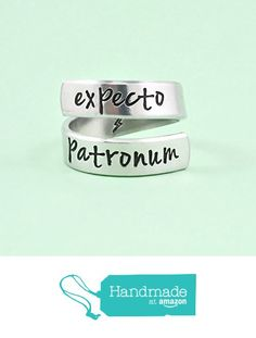 expecto patronum - Hand Stamped Aluminum Spiral / Twist / Wrap Ring, Lightning Bolt Ring, Pop Culture Inspired Jewelry, Harry Potter Fans Gift, V1 from Stamped Love https://www.amazon.com/dp/B0168QQL0W/ref=hnd_sw_r_pi_dp_8I6Kyb82S44ZV #handmadeatamazon