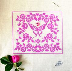 Madame Butterfly ~ PDF Cross Stitch Pattern ~ Only $4.95! Stitch it in pink or red silk or DMC floss. Beautiful!