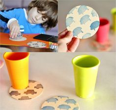 Stamping with children and making stamps yourself: ideas and instructions - New Decoration ideas Wine Corker, Homemade Stamps, Wooden Cubes, Strongest Glue, Dry Well, Pencil Eraser, Stamp Making, Creative Activities, The Conjuring