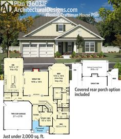 Architectural Designs Bungalow-esque House Plan 19603JF has a flexible floor plan giving you 2 or 3 bedrooms and comes with an option for a rear covered porch. Ready when you are. Where do YOU want to build?
