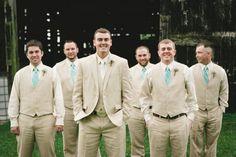 Groom and Groomsmen in Linen Suits