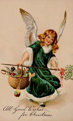""""""" All Good Wishes for Christmas """". Green robed Christmas angel"""