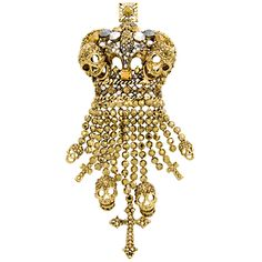 Large Crystal Crown With Multi Skull And Cross Tassell Brooch    £78.00