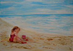 Little girl at beach....Get pic of Lyd at the beach and ask Sue to paint for guest bedroom :) Check it off the list! :)