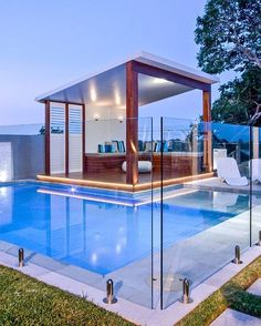 What a great place to chill out! Bring on summer  pictured is a frameless glass pool fence using round spigots with base plates. #simplyframelessyarrawonga #yarrawongamulwala #modern #latesttrend #glasspoolfence