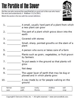 The Parable of the Sower - Matching Quiz Bible Activities For Kids, Bible Study For Kids, Bible Lessons For Kids, Church Activities, Group Activities, Sunday School Crafts For Kids, Sunday School Activities, Sunday School Lessons, Parable Of The Sower For Kids