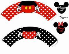Mickey: Preciosos Wrappers y Toppers para Cupcakes para Imprimir Gratis.