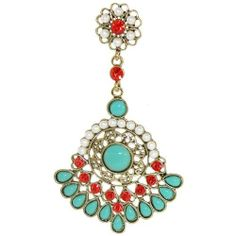Real Rhinestones, Faux Turquoise And Faux Pearls Chandelier Earrings In Turquoise with Gold Finish . $10.99. Save 73% Off!