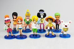 9pcs/set 9.5cm Anime One Piece Figure Luffy Zoro Sanji Nami Robin Brook Chopper PVC Action Figures Toys Toppers Terrarium Collections by MsDIYSupplies on Etsy