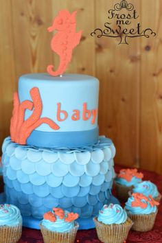 Frost Me Sweet Bistro & Bakery - Oh, Baby! Seahorse water baby shower cake www.frostmesweet.com Baby Shower Cakes, Baby Shower Themes, Baby Cakes, Shower Ideas, Baby Wedding, Wedding Cakes, Cake Cookies, Cupcake Cakes, Marine Baby