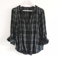 Black & White Flannel B&W flannel button up top. Can be worn open or closed. Light weight, breathable material makes it perfect even for summer. Excellent like new condition. Sleeves can be worn buttoned up to a 3/4 sleeve or all the way down. Cotton like material, so comfy. No size or brand tag. Approximately a size M-L. From Nordstrom. Tops Button Down Shirts