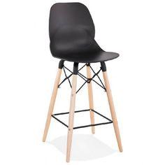c7fce5e26e048a Tabouret de bar chaise de bar mi-hauteur scandinave PACO (noir)