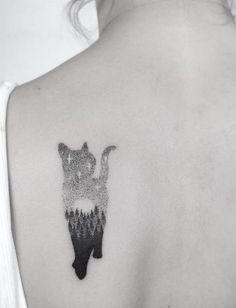 Landscape cat tattoo by Jakub Nowicz