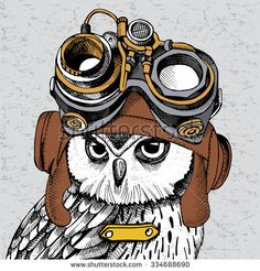 Owl portrait in a Steampunk helmet. Vector illustration.