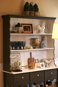 Painted Hutch - This hutch was redone in BM Decorator White and SW Black Fox and the two tone look is what I'm loving!