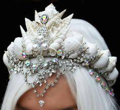 """Hannah Fraser on Instagram: """"Look at this gorgeous mermaid crown by @chelseasflowercrowns - #mermaids #tiara #whitecrown #whitehair #mermaidcrowns #handmade #seashells…"""""""
