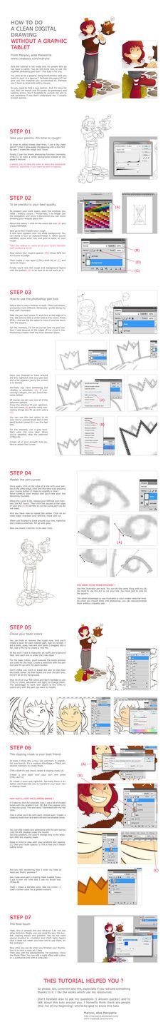 Tutorial, How to draw without a graphic tablet by Menestria.deviantart.com on @deviantART