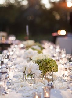 table centerpieces: square glass vases + white and green flowers