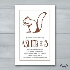 Squirrel Birthday Party Invitation    by PandafunkCreations