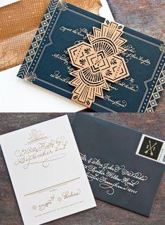 Invitacion de boda en azul oscuro