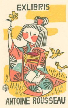 Ex libris of Antoine Rousseau by Maekawa Senpan (1888-1960)