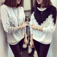 JP Fashion Women Autumn Winter Hoodies Loose Long Sleeve Lace Shirt Sweatshirts